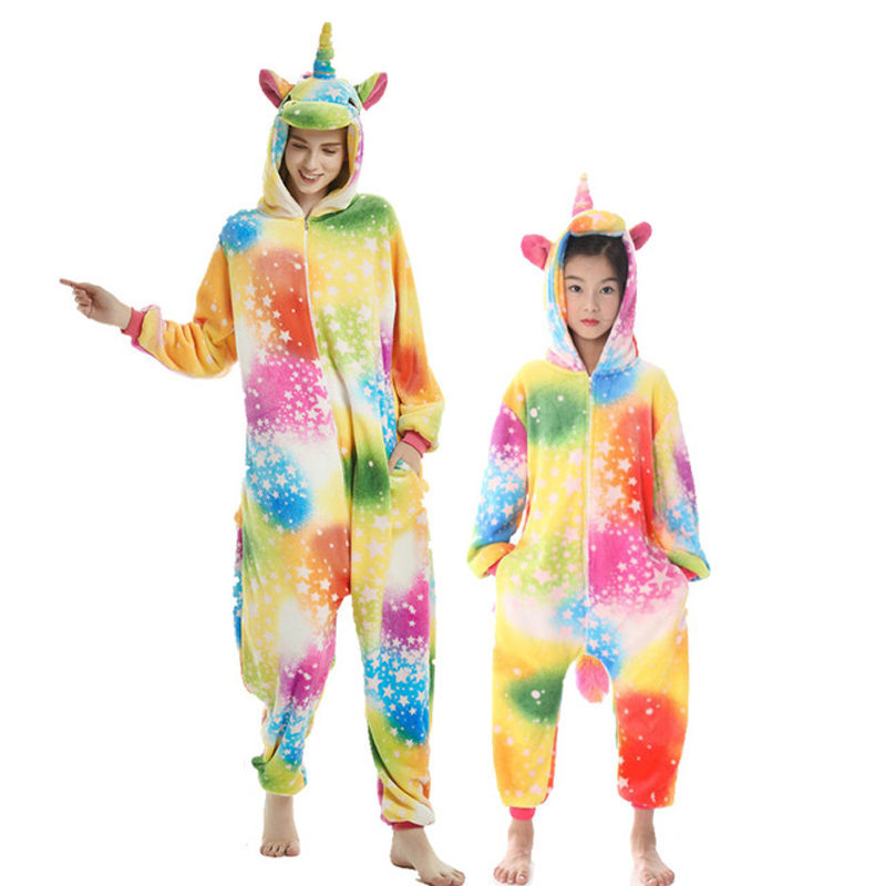 Image 2 - NEW mommy and me animal unicorn panda family matching pajamas clothes hooded kids mother soft sleepwear winter Christmas pyjamas-in Matching Family Outfits from Mother & Kids