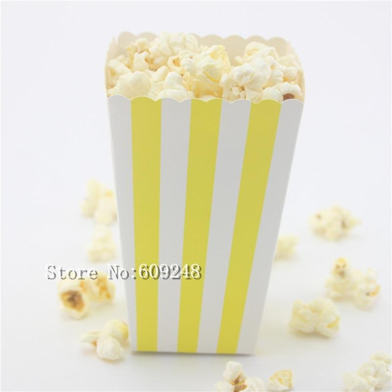 Black Treat Favor Boxes : Pcs yellow striped paper popcorn boxes stripe party