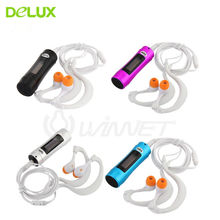 Delux FM 4GB Clip Waterproof MP3 Music Player FM Swimming Diving + Earphone Slick For Underwater Sport MP3 Music Player