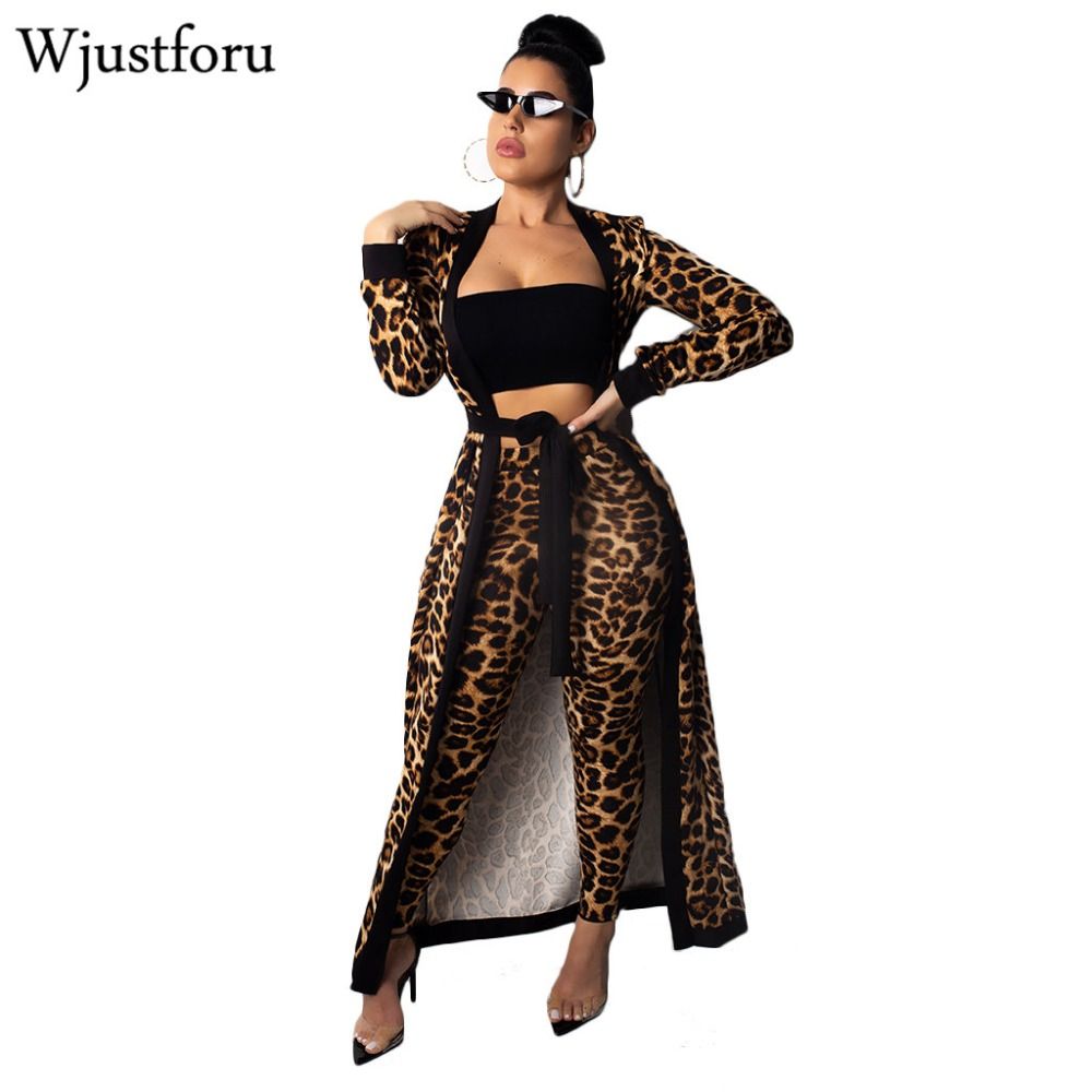 Wjustforu New Winter Leopard Tracksuit Women Fashion Long Cardigan Tops And Bodycon Pants Bandage Casual Elegant Two Piece Set