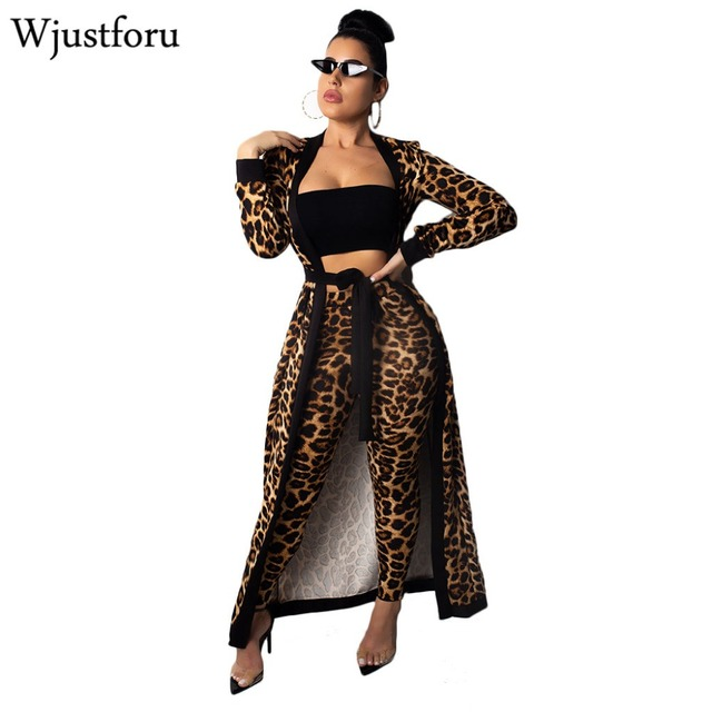5d801b1b8d4 Wjustforu New Winter Leopard Tracksuit Women Fashion Long Cardigan Tops And  Bodycon Pants Bandage Casual Elegant Two Piece Set