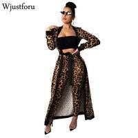 Wjustforu New Winter Leopard Tracksuit Women Fashion Long Cardigan Tops And Bodycon Pants Bandage Casual Elegant Two Piece Set