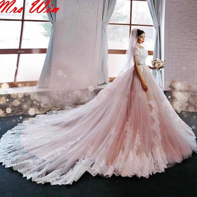 Pink Wedding Dresses 2019: Romance Blush Pink Lace Wedding Dress 2019 Chapel Train