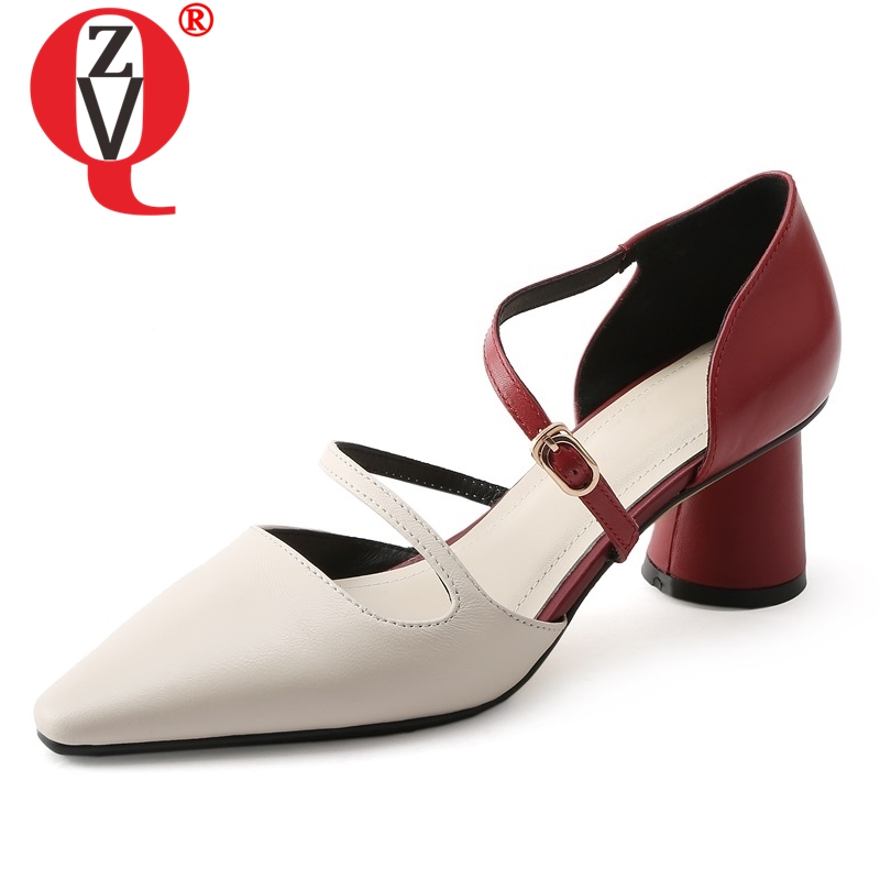 ZVQ shoes woman 2019 spring newest mixed colors genuine leather woman pumps outside high strange style