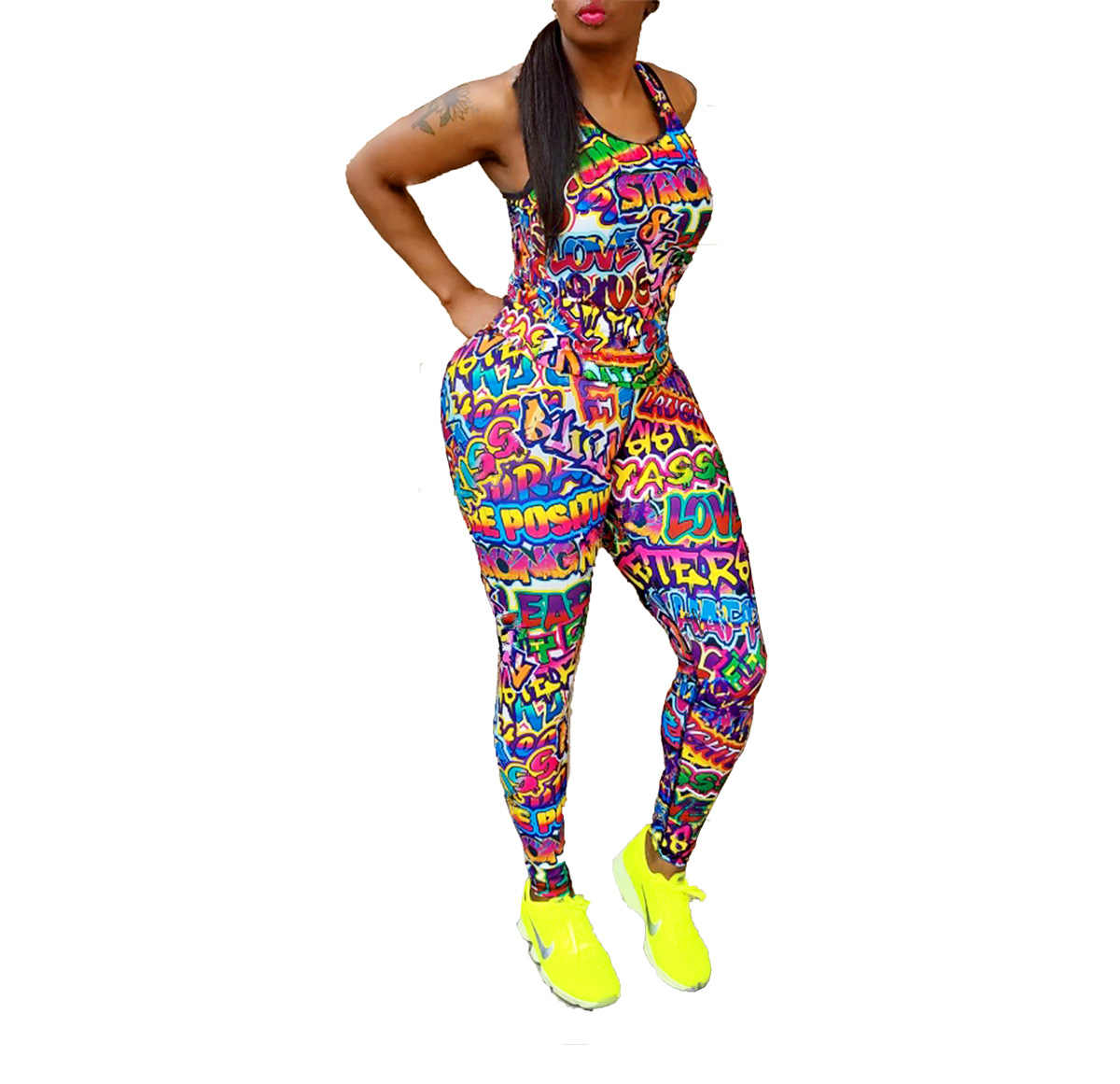 2019 women summer letter rainbow printed tank top skinny pencil long pants suit two piece set sports tracksuit outfit AL029