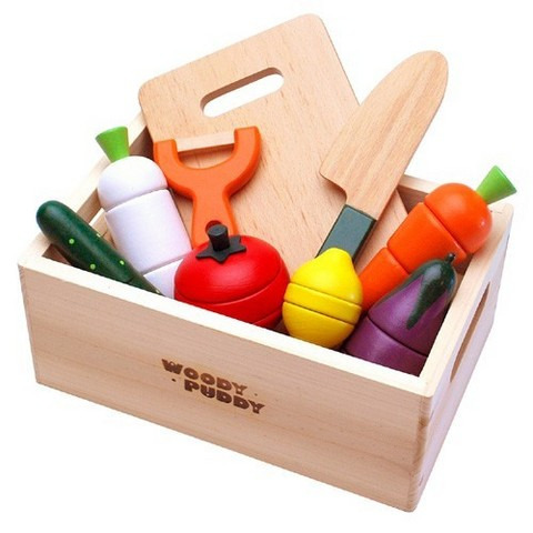 Baby Wooden Kitchen Toys Montessori Cutting Food Fruit and Vegetable Play set Educational Pretend Play Toys for Children Gifts