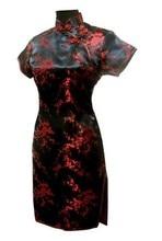 New Black Red Chinese Traditional Dress Women's Silk Cheongsam Sexy Qipao Flower Plus Size S M L XL XXL XXXL 4XL 5XL 6XL S025-B