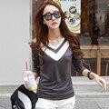 2016 Корейский стиль Sexy V-образным Вырезом с Длинным рукавом женщин высокое качество хлопка Тонкий моды Топы femme V лоскутное Дизайн футболка
