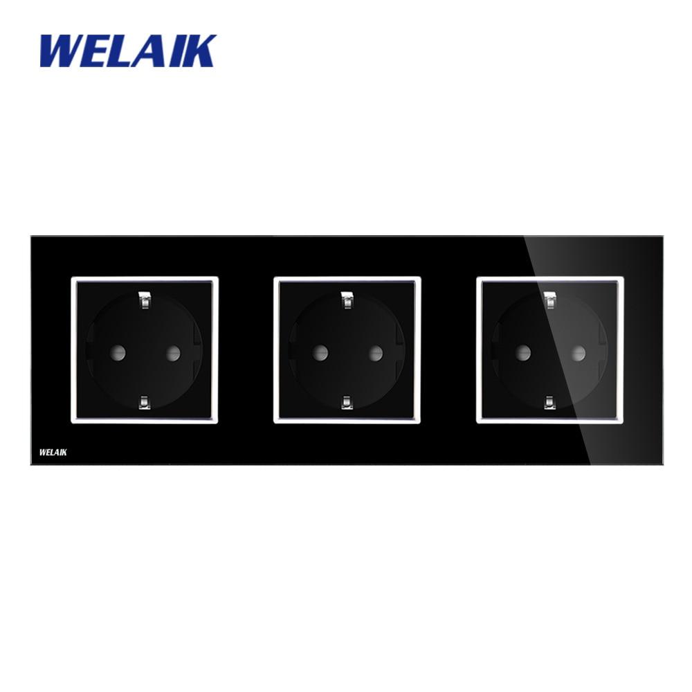 цена на WELAIK Glass Panel Wall Socket Wall Outlet Black European Standard Power Socket AC110~250V A38E8E8EB