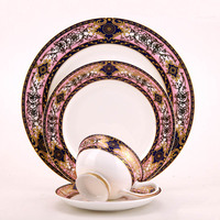 Bone China Pink Flat Plate Steak Salad Tray Dinnerware Set Fast Food Tray Pasta Dishes and Cup Western Style Food Container 1pcs