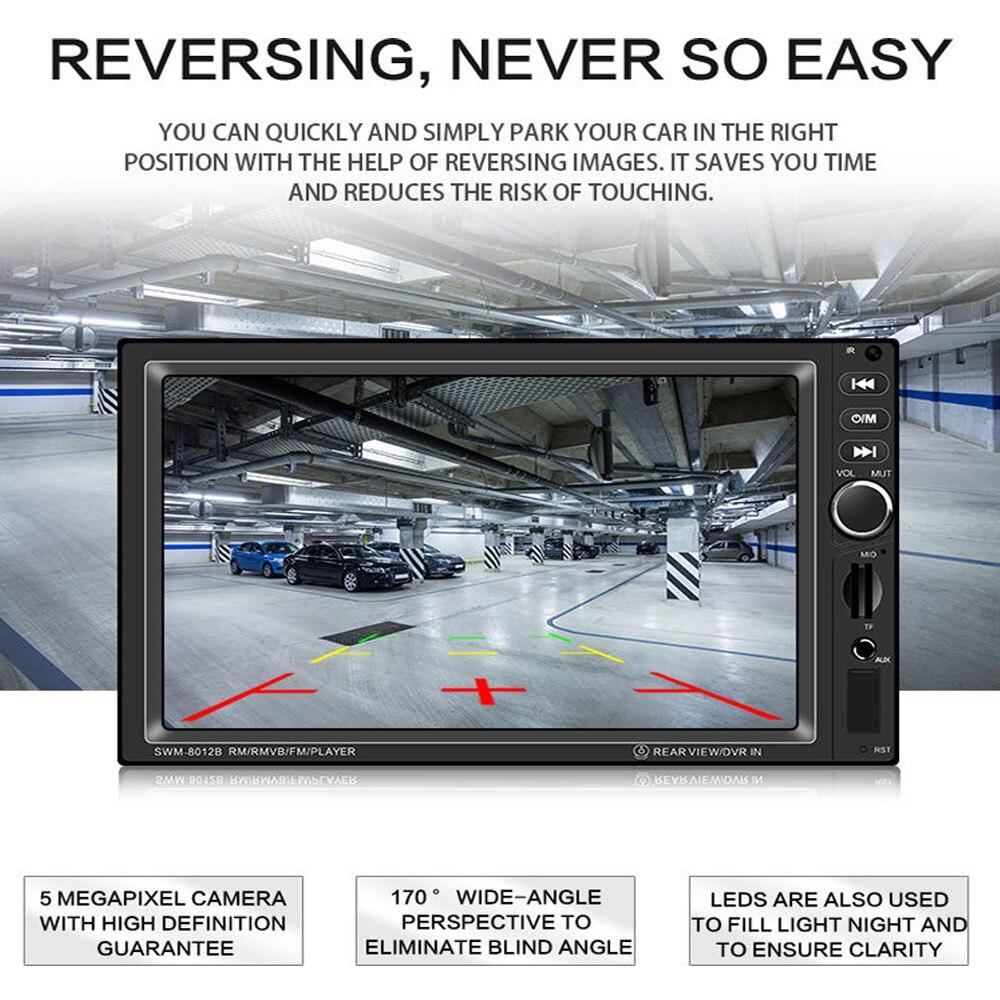 AMPrime 2din 8012B lecteur multimédia de voiture stéréo Bluetooth Radio voiture audio 7 ''2 DIN écran tactile Autoradio avec caméra de recul - 5