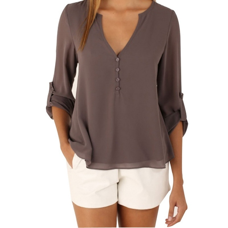 LASPERAL New Autumn Women Long Sleeves Chiffon Shirt <font><b>Sexy</b></font> Deep V Neck Zipper Camisetas <font><b>Mujer</b></font> Blouse Tops Blusas Plus Size <font><b>5XL</b></font> image