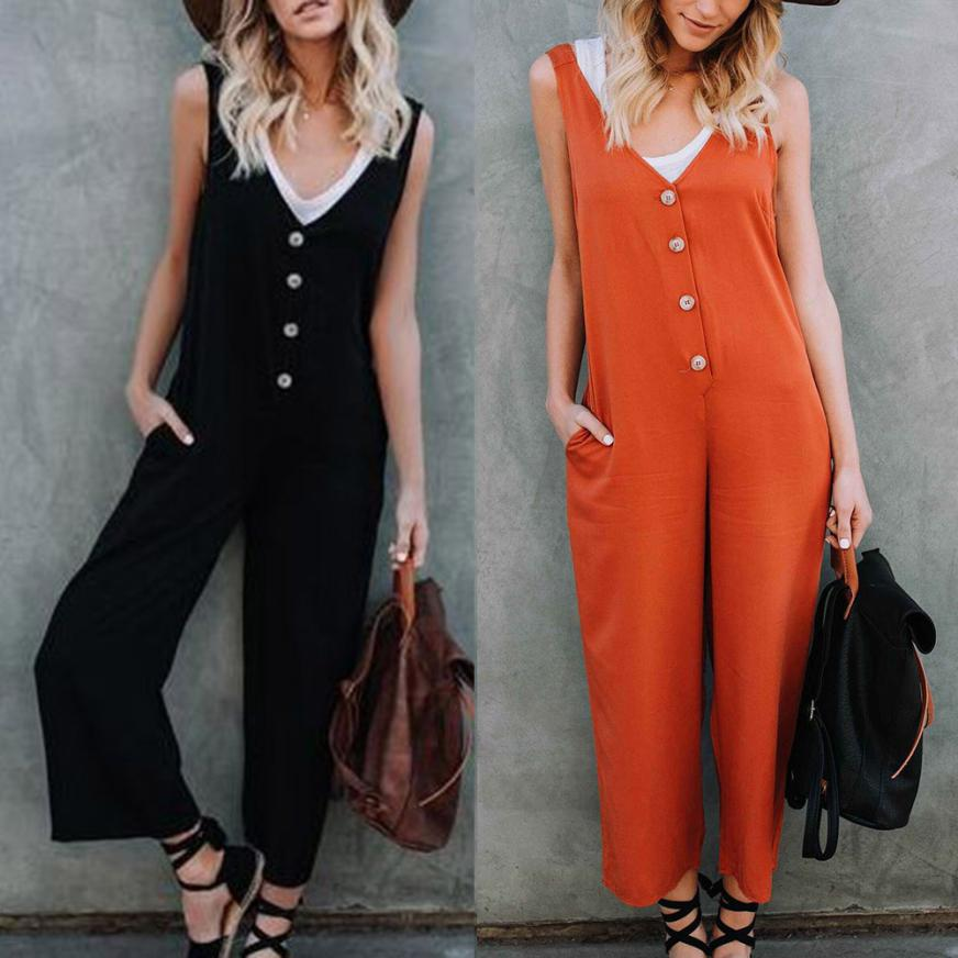 Fashion Romper Womens Dungarees Jumpsuit Spaghetti Straps Pockets Buttons Pants Casual Solid Oversize Loose Overalls Playsuits