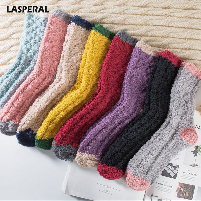LASPERAL Female Coral Fleece Homme Female Cute Harajuku Sox 2018 New Arrive Winter Warm   Socks   Women Thicken Warm Crew   Socks