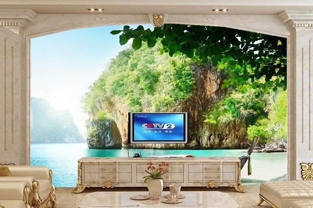 Natuur Behang Slaapkamer : Grote muurschilderingen boten thailand zee crag natuur behang