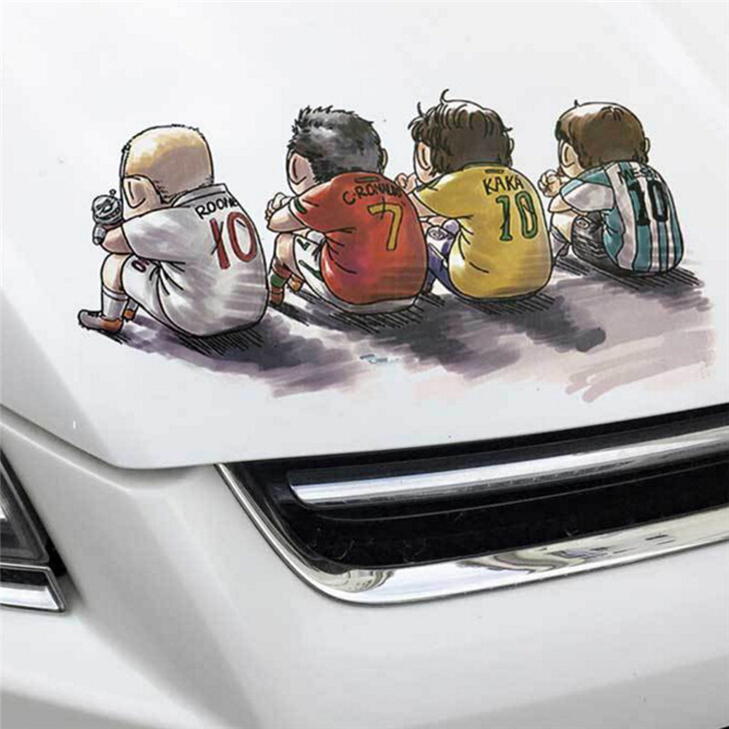 1pc Car-styling Door Football Super Stars Ronaldo KaKa Messi Sticker Decal Glass