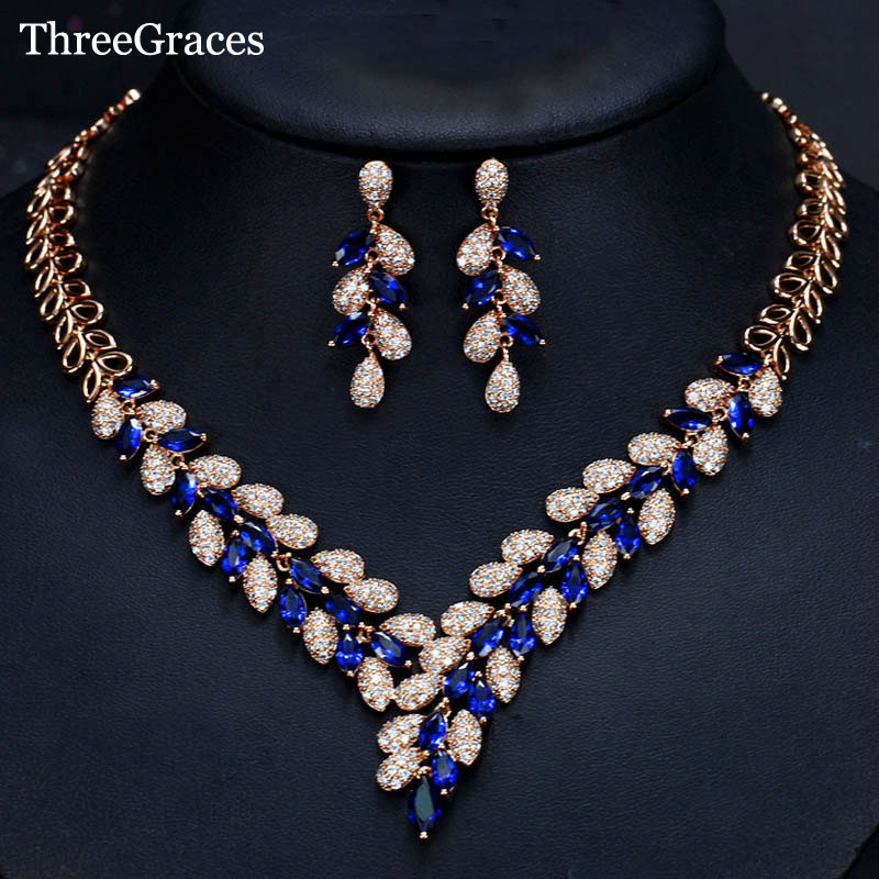 ThreeGraces Luxury Nigerian African Large Leaf Shape Blue Cubic Zirconia Bridal Necklace And Earrings For Wedding Gift JS260 delicate maple leaf shape rhinestone and faux pearl necklace and earrings for women