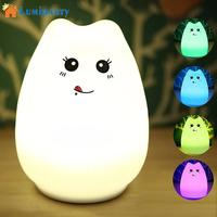 LumiParty LED Rechargeable Night Light Warm White RGB Multi Color USB Port Portable Silicone Soft Baby