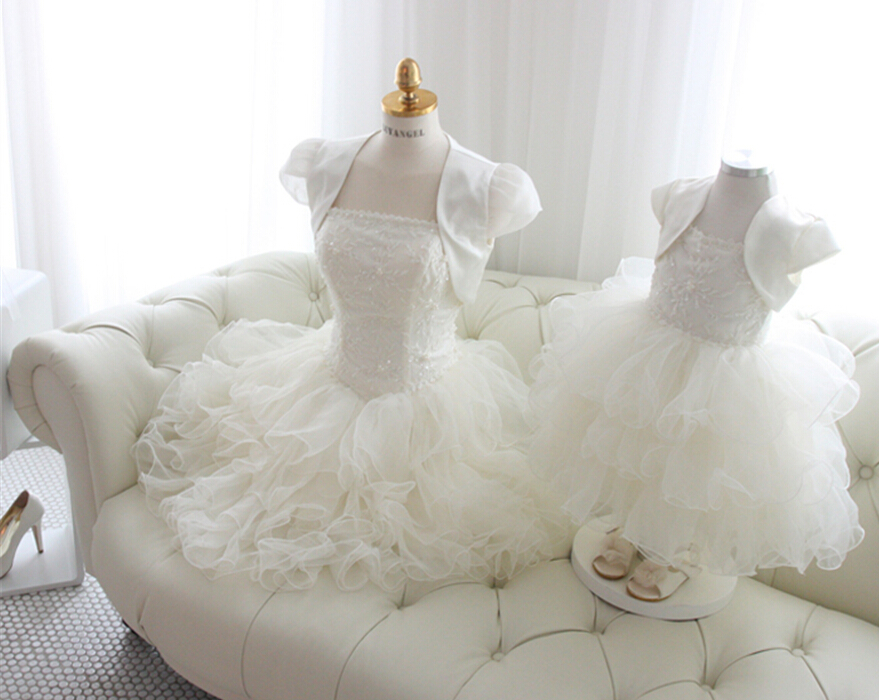 2015 new Fashion hot knee-length   Flower     Girl     Dresses   with jacket organza ruffles lace beading first communion   dresses   for   girls