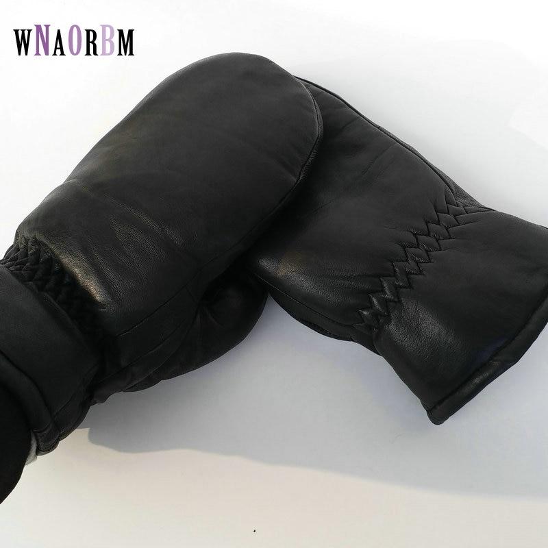 2019 Men sheepskin gloves genuine leather glove for men winter Outdoor warm fur thickening thermal gloves