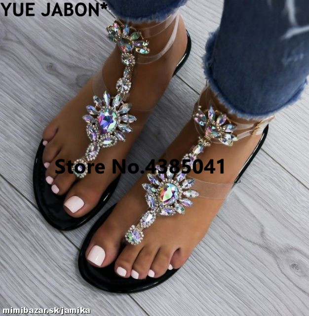 Plus Size 43 2019 Shoes Woman Sandals Women Rhinestones Chains Flat Sandals Thong Crystal Flip Flops Sandals Gladiator Sandals