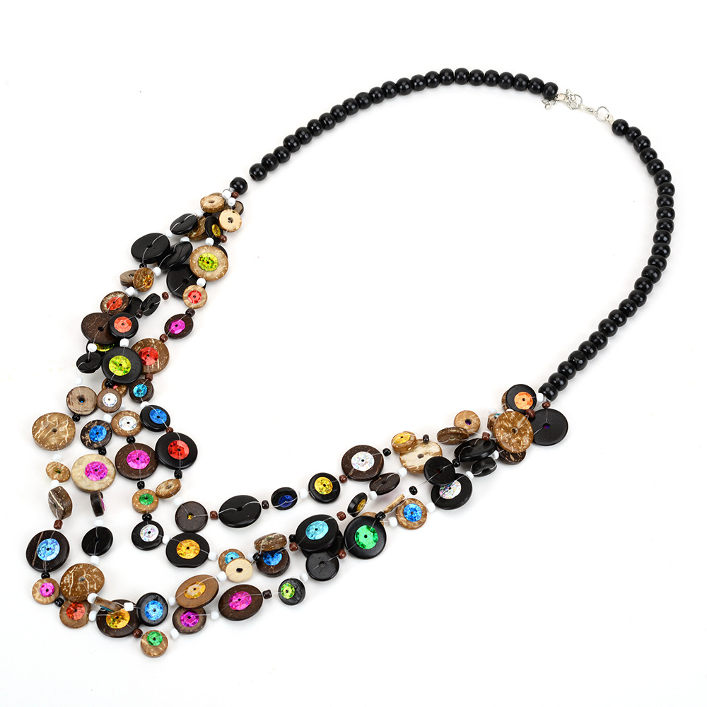 Handmade Ethnic Bohemian necklace vintage coin beaded
