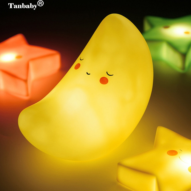 Tanbaby Baby Room LED Night Light Star Moon Sun Battery Operated Cute Beside Table Desk Lamp for Kids Bayby Bedroom