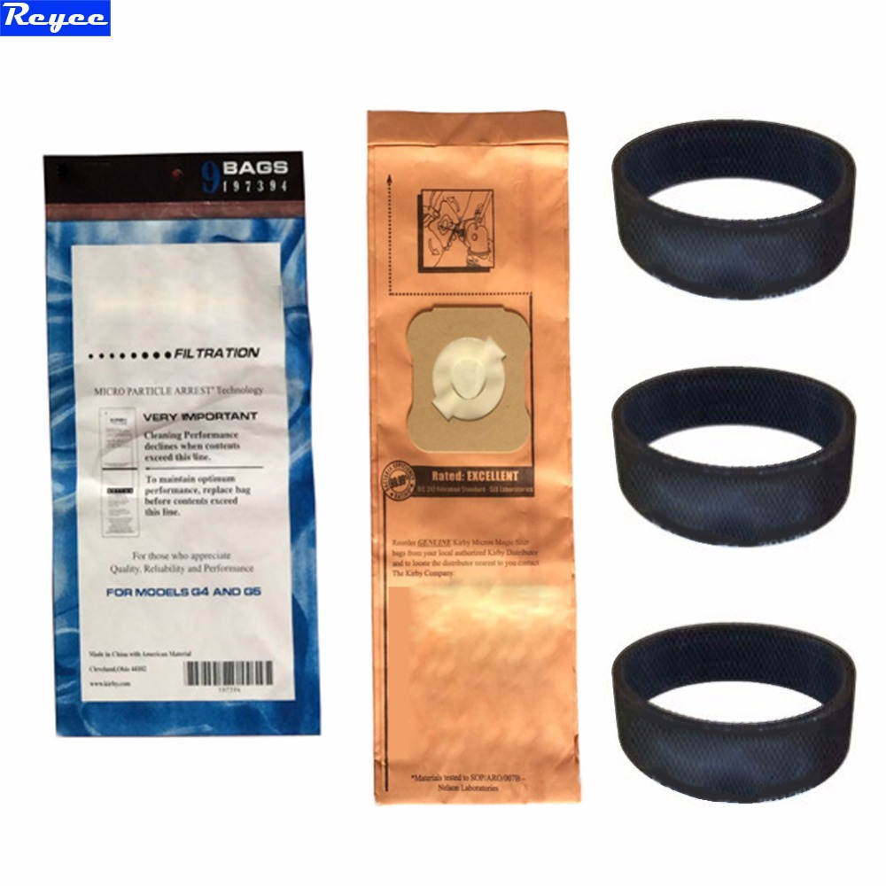 For Kirby 9 Genuine Vacuum Micron Magic Bags G4 & G5 197394 Generation 4 Gen 5 Kirby Bag, 197394 (9 pack) & 3 Belts 301291 for yamaha mt 03 2015 2016 mt 25 2015 2016 mobile phone navigation bracket page 1