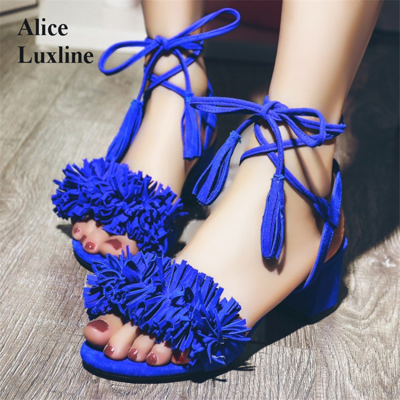 Summer sexy women ankle strap sandals shoes 2017 open toe sandals with coarse fringed tassels square heel Blue red 33-43 size UK concise open toe thick heel sandals comfortable city ol leisure red sole sandals 16 summer stylish hot ankle strap women s shoes