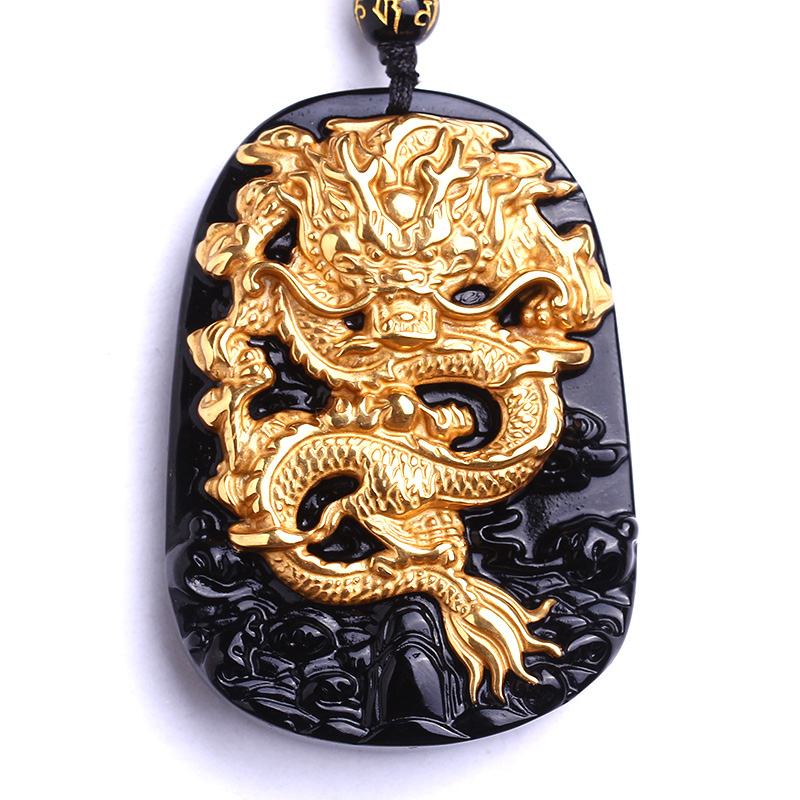 Wholesale 18K Gold Natural Black Obsidian Carving Dragon Lucky Amulet Pendant Necklace For Women Men pendants