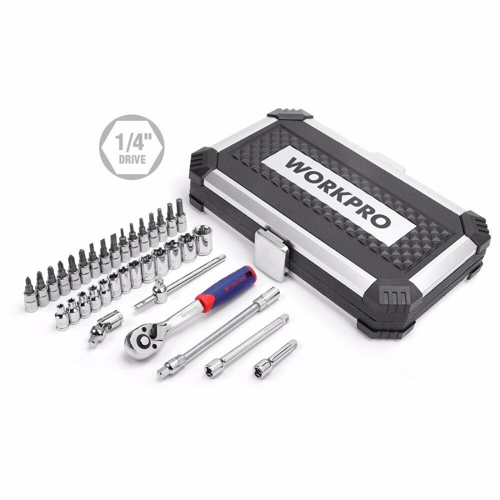 WORKPRO 35PC Tool Set for Car Repair Tools Sokcet Set Metric 1 4 Drive Ratchet handle