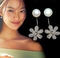 925 Prata Esterlina Flor Simulado Pérola Brincos Para As Mulheres Zircão Cúbico CZ Diamante Brincos Esterlina-prata-jóias A268