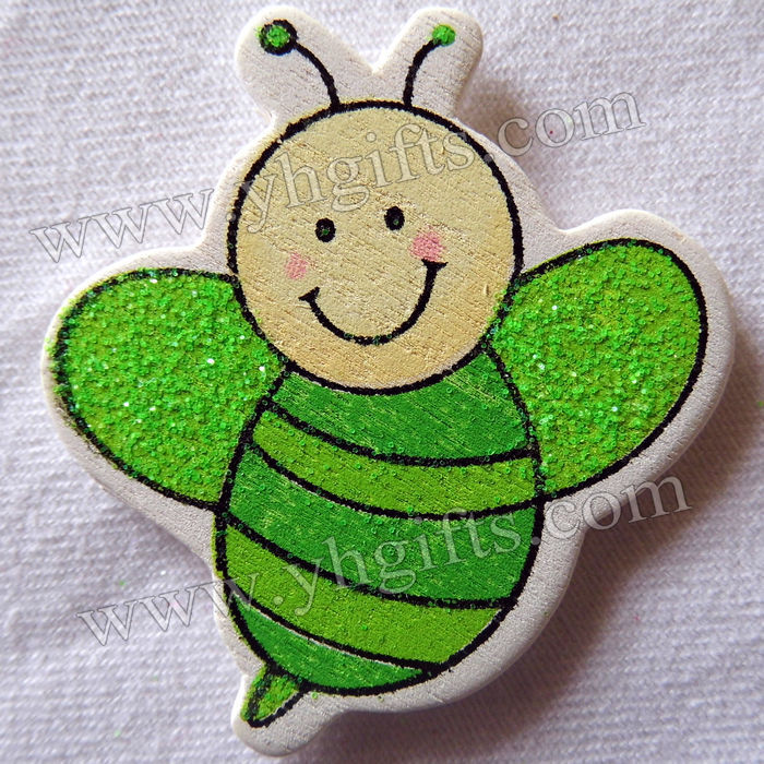 100PCS/LOT.Wood glitter honeybee stickers,Kids toys,scrapbooking kit,Early educational DIY.Kindergarten crafts.Classic toy