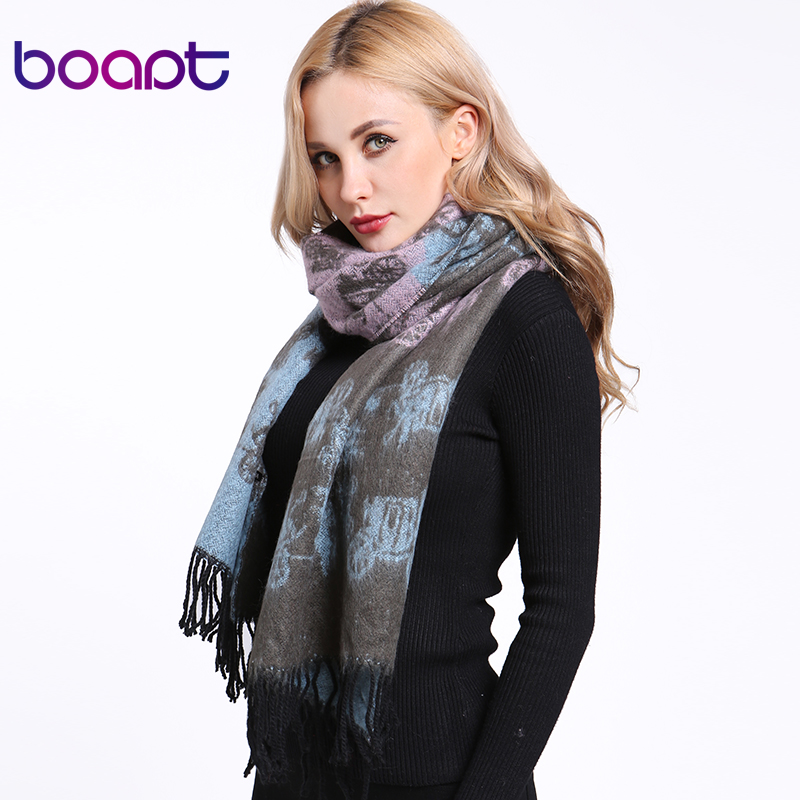 [boapt] Mohair Thick Good Quality Fashion Warm Winter   Scarf   Printing Cartoon Pictures Designer Female Shawls Women   Scarves     Wraps