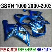 Bodywork hot sale fairings for Suzuki gsxr1000 2000 2001 2002 white flames blue fairings set GSXR 1000 00 01 02 IV99