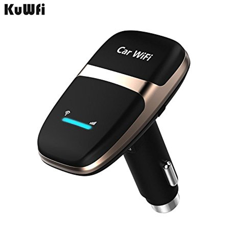 Kuwfi Unlocked 4G LTE Car Wifi Router CarFi Modem Router SIM Card Wifi Hotspot with 5V/1A Cigarette lighter USB Charger pk E8377