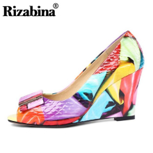 RIZABINA Size 33-42 Genuine Leather Women Wedges Pumps Colorful Printing High Heels Shoes Peep Toe Party Wedding Woman