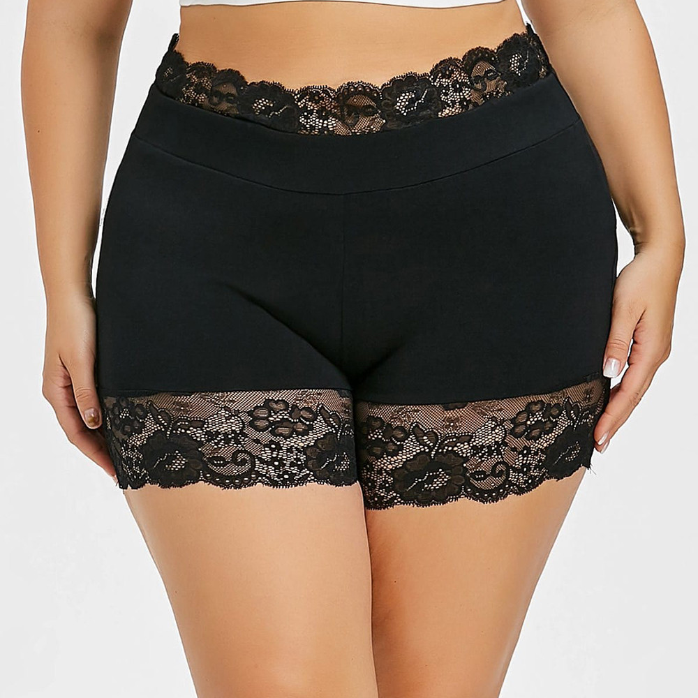 Sexy Underpants Women Boxer Femme Safety Shorts Anti Chafing Solid Black Lace Under Skirt Seamless Comfortable Short Tights Plus