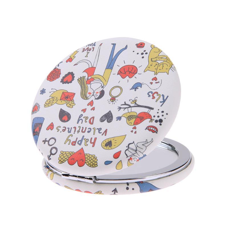 Symbol Der Marke Tragbare Mini Runde Kosmetikspiegel Cartoon-muster Leder Metall Compact Faltbare Doppel Seiten Falten Kosmetikspiegel Ausgereifte Technologien Spiegel