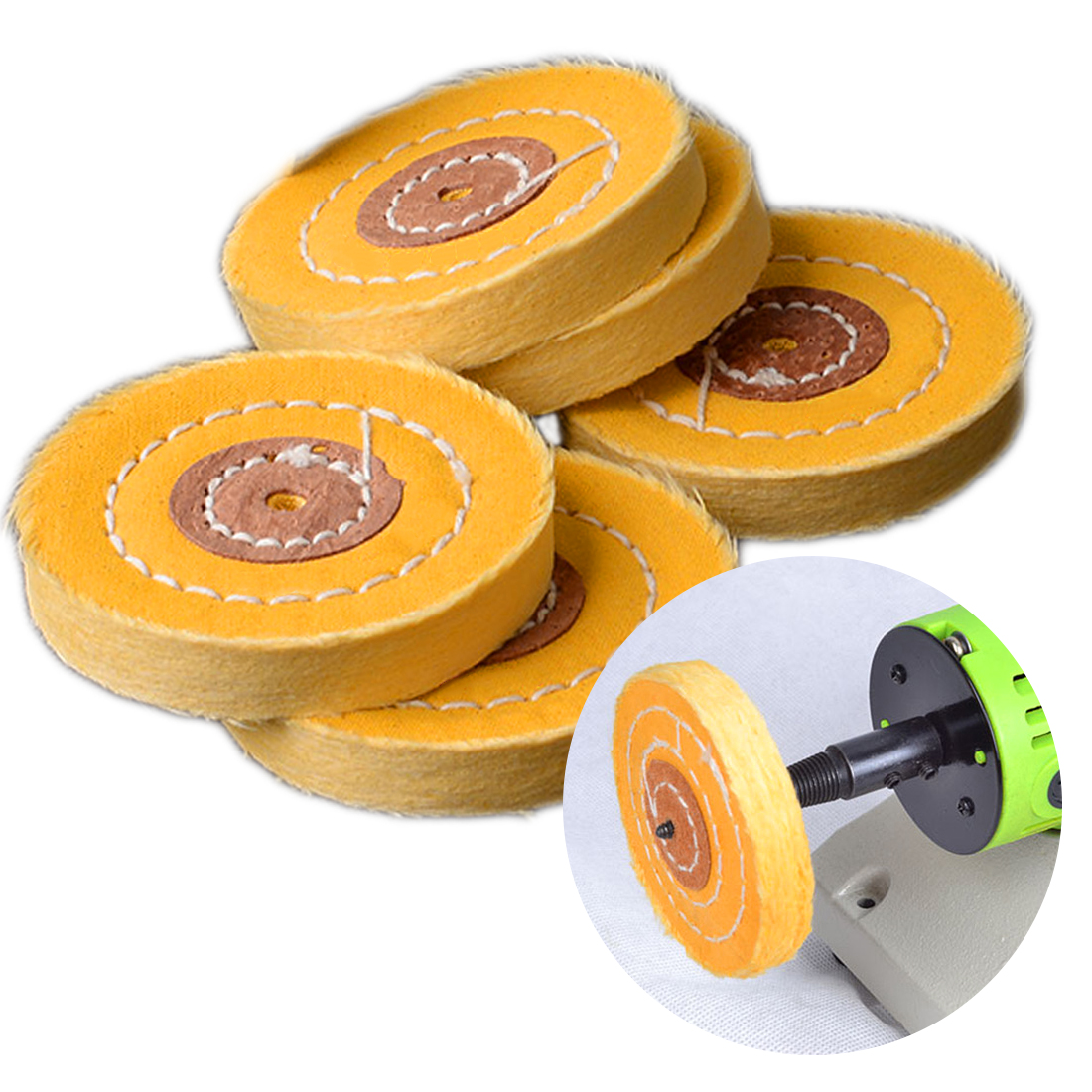 1pc 50-300mm Cotton Lint Cloth Buffing Wheel Gold Silver Jewelry Mirror Hardware Polishing Wheel Tool 4mm Inner Diameter