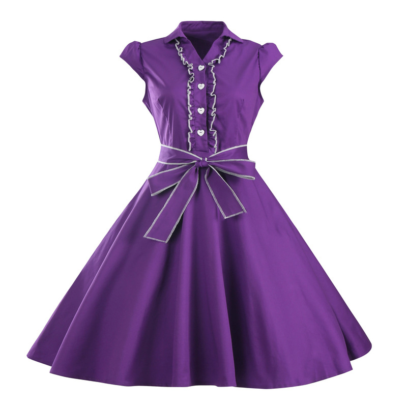 cbeaa88d7d9 Wonmen New Fashion Vintage Summer Dresses Lady Solid Sexy Frill Vestidos  Cap Sleeve With Big Swing Dress MT1573-in Dresses from Women s Clothing on  ...