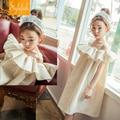 Stylefish 2016 nuevos niños del verano ropa niños coreanos vestido de color puro algodón cordón grande founced girls vestido vestido