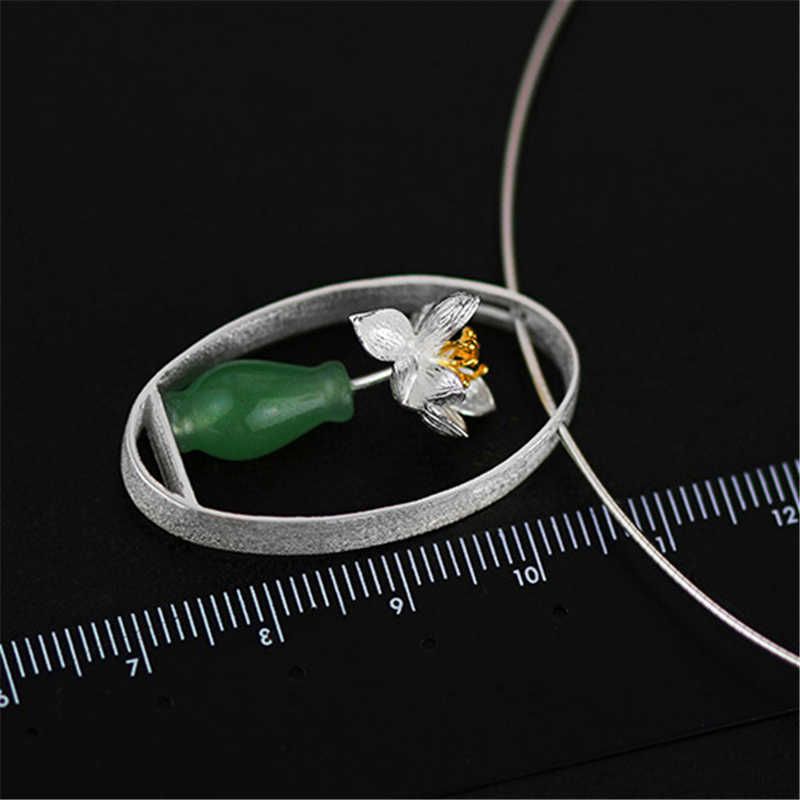Lotus Vui Thật Nữ Bạc 925 Tự Nhiên Aventurine Handmade Mỹ Trang Sức Sen Thì Thầm Bình Hoa Mặt Dây Chuyền Mà Không Cổ Nữ