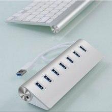 Leadzoe USB 3.0 Hub 7-портовый Высокоскоростной Портативный Алюминиевый Usb-концентратор с USB3.0 Кабель для iMac, Macbook, MacBook Air и больше Серебра