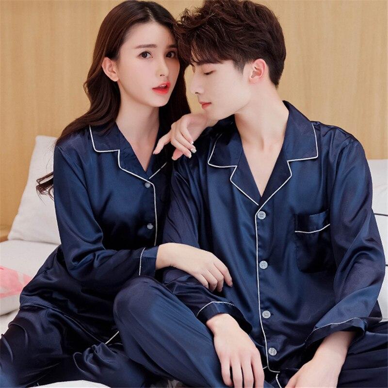 China Satin Silk Pajamas Sets Couple Sleepwear Family Pijama Lover Night Suit Men & Women Casual Home Clothing