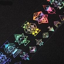 1 рулон 4* 100cmLaser3D стикер для ногтей s Фольга для ногтей геометрический цветок Серебристая Звезда Дизайн ногтей перевод рисунка наклейка для воды голографический лазер