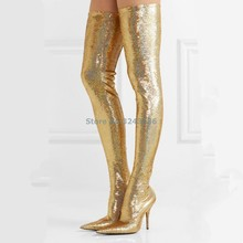 4ad971eea4a0 Pointed Toe Metallic Over The Knee Boots Rose Gold Silver Patent Leather  Mirror Effect Stiletto Heel