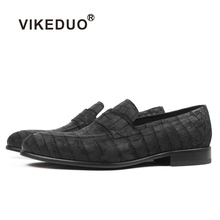 Vikeduo 2019 Custom Genuine Leather Shoe Fashion Party wedding Dress Office Original Designer Men's Crocodile Skin Loafers Shoes