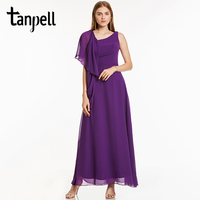 Tanpell A Line Evening Dress Burgundy Sleeveless Floor Length Dresses Cheap Purple Chiffon Draped Wedding Party