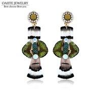 OAIITE Women S Trendy Long Earrings Jewelry Drop Feather Style Feather Drop Earrings Fashion Classic Earrings